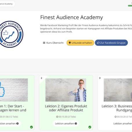 Die einzelnen Lektionen der Finest Audience Academy im Überblick