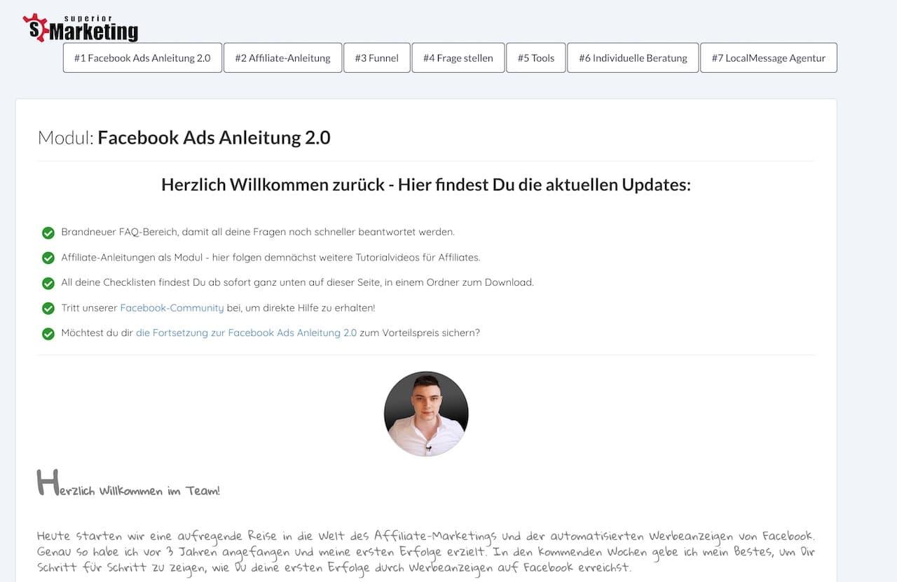 Facebook Ads Anleitung 2.0 Starseite