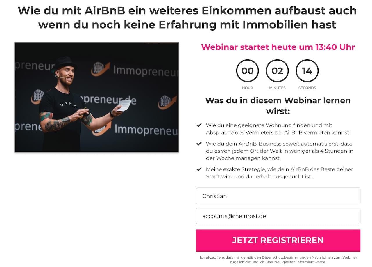 Mit Airbnb um die Welt Webinar Anmeldung Login