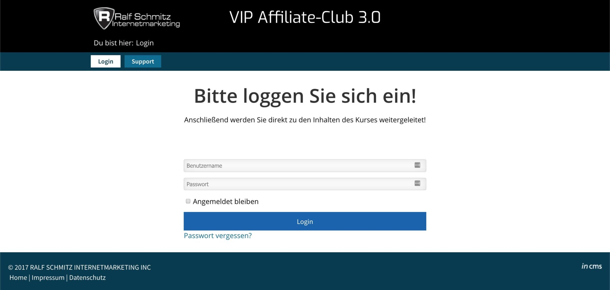 Der Login im Club