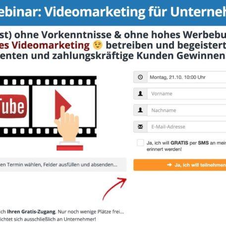 Die Anmeldung zum Videomarketing-Masterplan Webinar