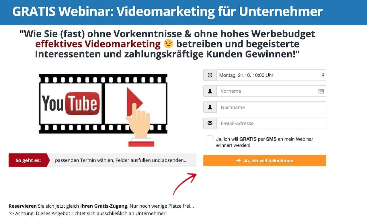 Videomarketing-Masterplan Webinar Anmeldung