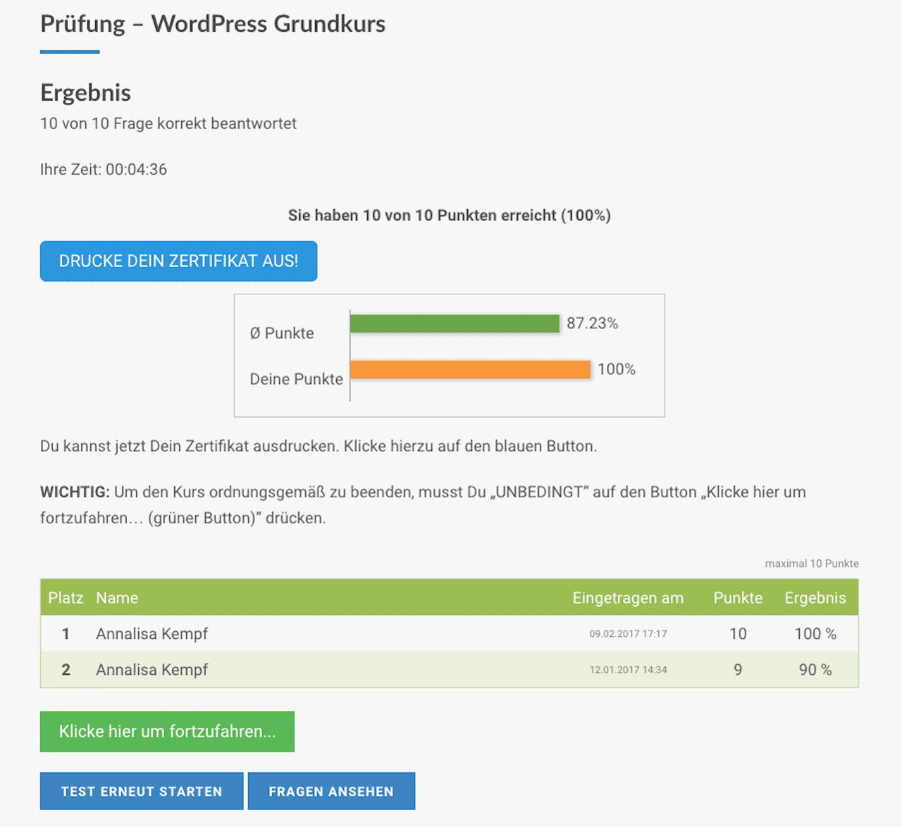WP Akademie Master Coaching von Werner Langfritz Prüfung Ergebnis